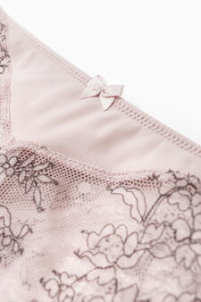 Stretch French knickers with contrasting embroidery, Pink, hi-res