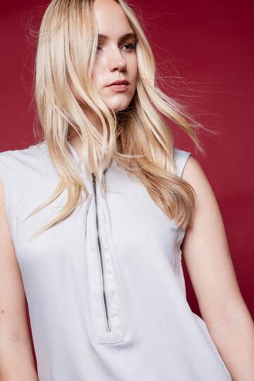 Blusa smanicata con zip Curvy, Bianco gesso, hi-res