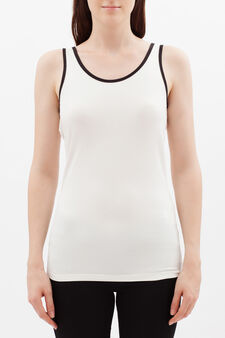 Stretch vest with contrasting trim., White, hi-res