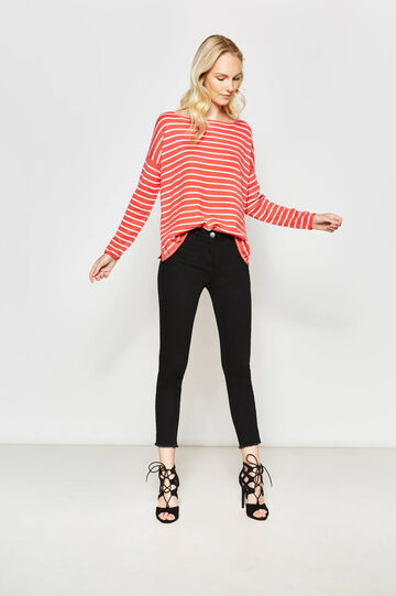 Striped pullover with boat neck