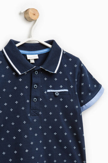 Patterned polo shirt with pocket, Navy Blue, hi-res