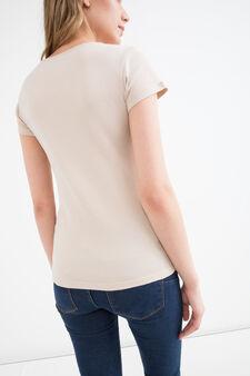 T-shirt puro cotone tinta unita, Sabbia, hi-res