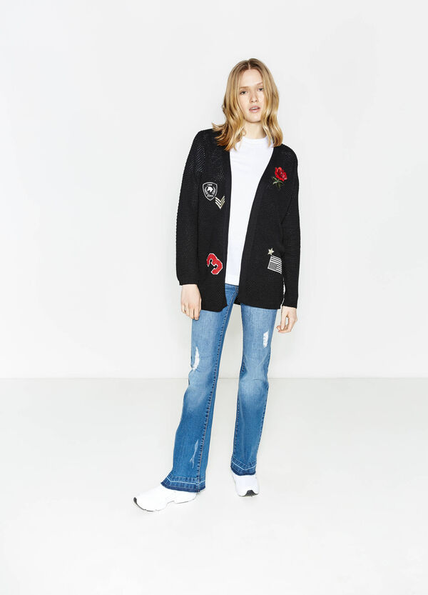 Cotton blend cardigan with patches | OVS