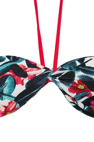 Stretch floral bandeau top, Green, hi-res