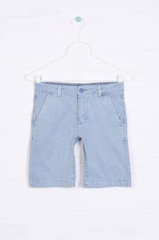 Solid colour 100% cotton Bermuda shorts, Soft Blue, hi-res