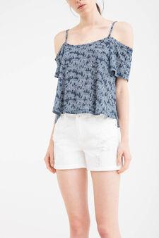 Shorts puro cotone con strappi, Bianco, hi-res