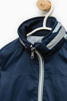 Windbreaker with pull-out hood., Dark Blue, hi-res