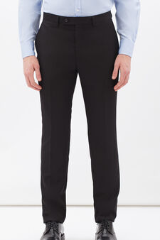Elegant, viscose blend trousers, Black, hi-res