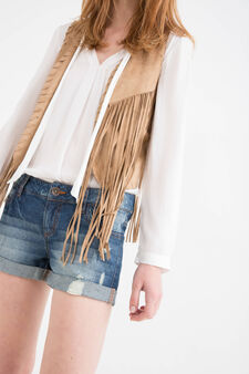 Shorts jeans used con strappi, Blu avio, hi-res