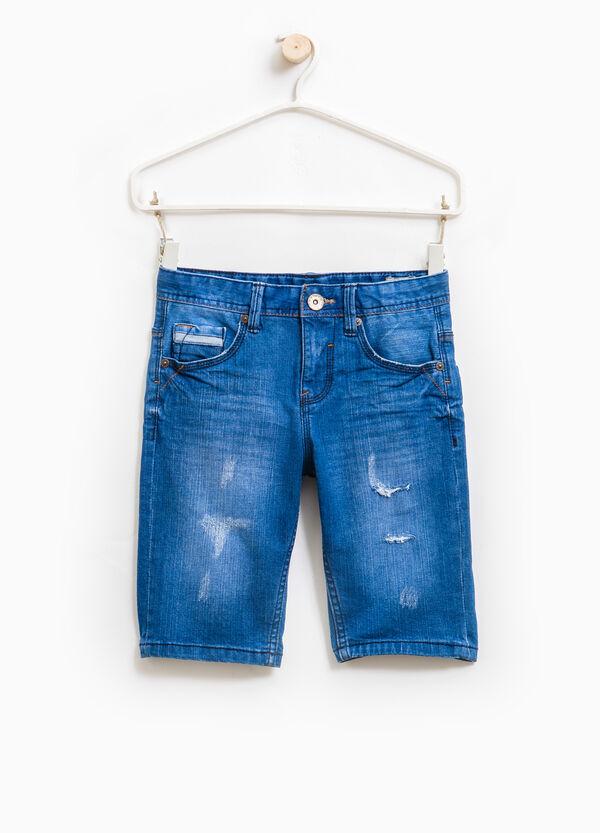 Denim Bermuda shorts with abrasions | OVS