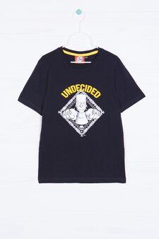 Bart solid colour cotton T-shirt, Black, hi-res