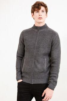 Cardigan tricot con costina, Grigio, hi-res