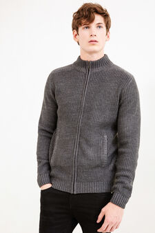 Knitted cardigan with ribbing, Grey, hi-res