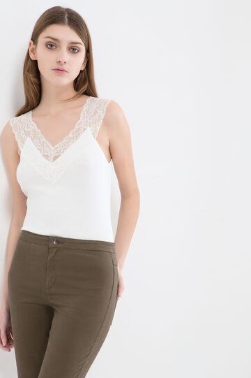 100% cotton top with lace, Milky White, hi-res