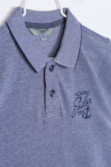 100% cotton polo shirt with printed lettering, White/Blue, hi-res