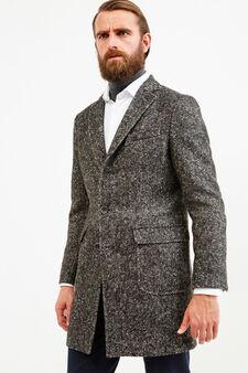 Rumford coat in wool with half-belt, Grey, hi-res
