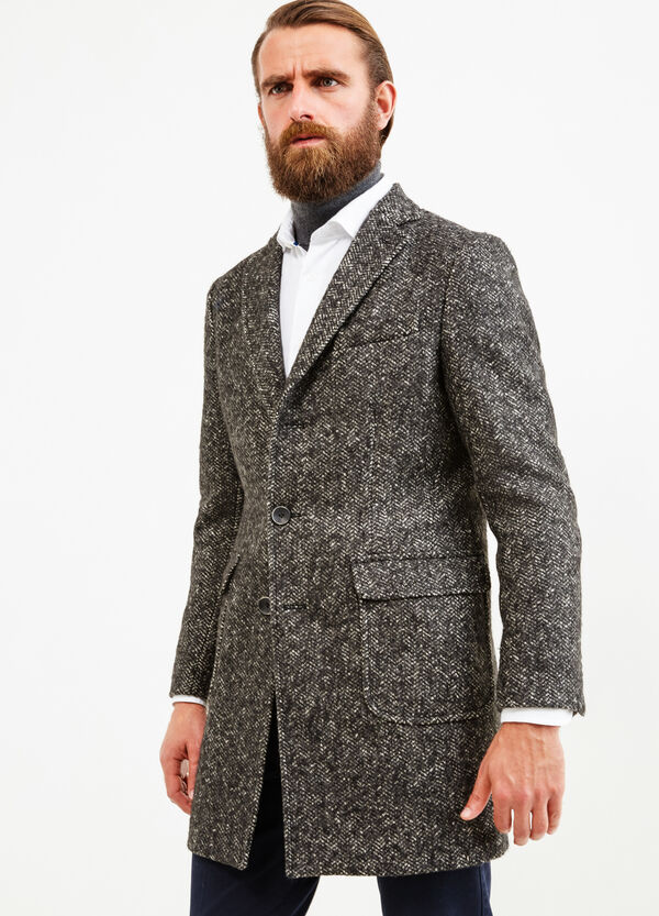 Rumford coat in wool with half-belt | OVS