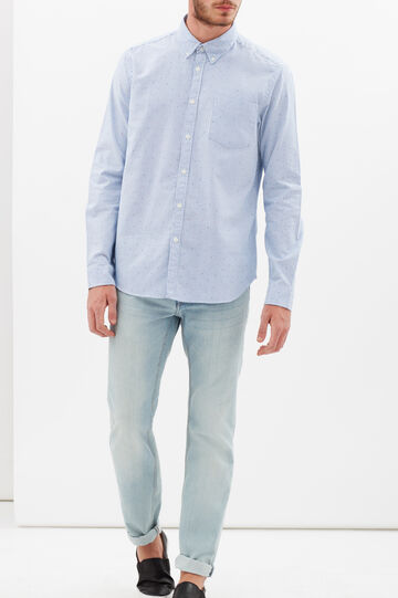 Slim-fit shirt with stripe and polka dot print, Light Blue, hi-res
