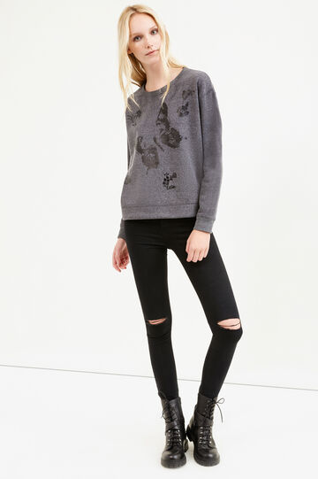 Cotton blend printed sweatshirt, Grey, hi-res
