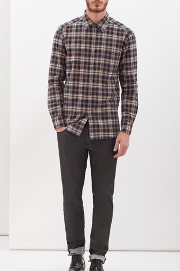 Flannel shirt with pocket, Blue, hi-res
