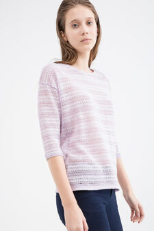 Openwork viscose blend T-shirt., Lilac, hi-res