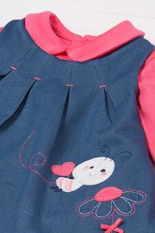 Bodysuit and denim dress outfit., Denim, hi-res