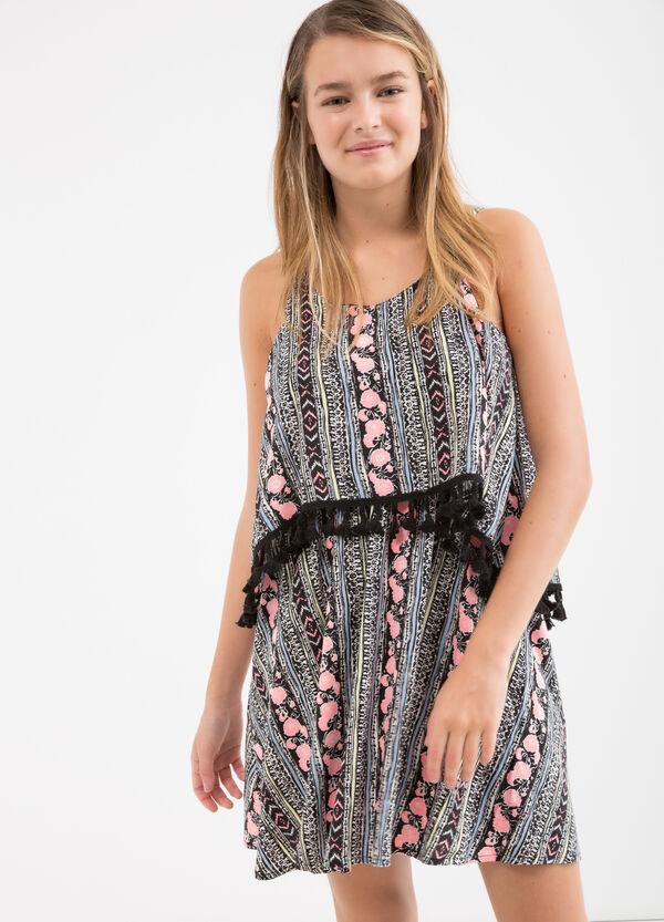 Teen 100% viscose dress with tassels | OVS