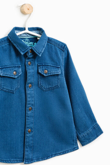 100% cotton shirt with small pockets, Blue, hi-res
