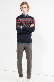 G&H knit pullover with embroidery, Navy Blue, hi-res