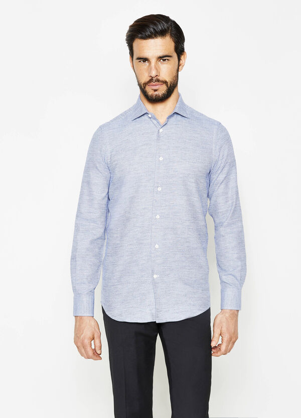 Slim-fit, patterned cotton formal shirt | OVS