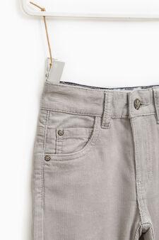 Pantaloni a costina tinta unita, Grigio argento, hi-res