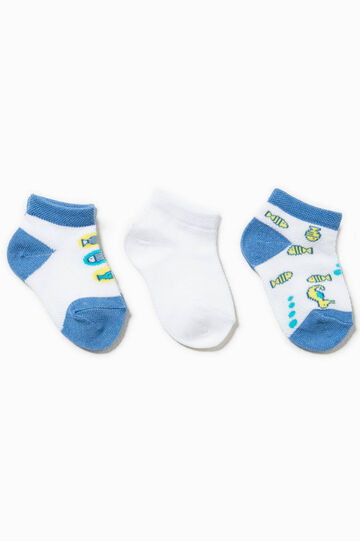 Three-pack socks with embroidery, Multicolour, hi-res