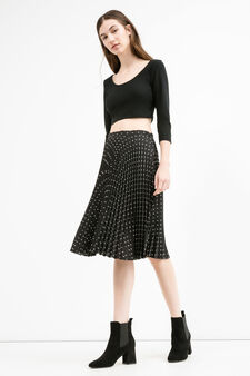Full flared pleated skirt with high waist, Black, hi-res