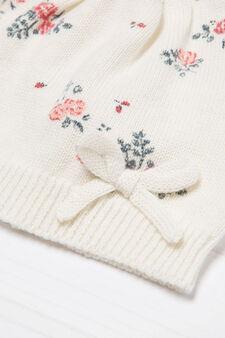 Floral-pattern beanie cap, Cream, hi-res