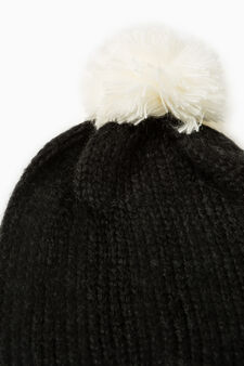 Beanie cap with pompom, White/Black, hi-res