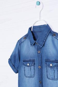 Camicia di jeans delavé taschini, Denim, hi-res