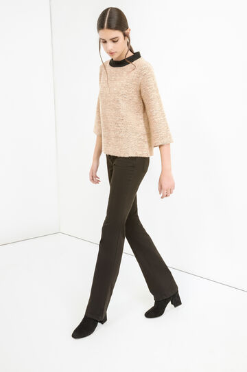Cotton lurex blend pullover, Camel, hi-res