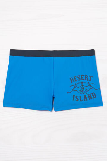 Lettering print stretch swim boxer shorts, Soft Blue, hi-res