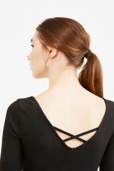 Ribbed bodysuit with ties on the back, Black, hi-res