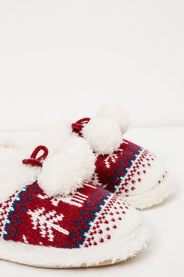 Slippers with pompom pattern, White/Red, hi-res