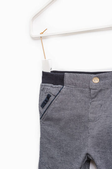 Cotton trousers with micro pattern, Navy Blue, hi-res