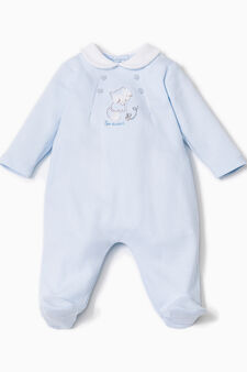 Onesie with feet and patch, Light Blue, hi-res