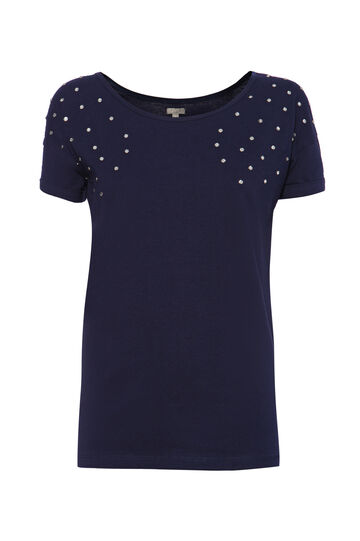 Smart Basic diamanté cotton T-shirt, Navy Blue, hi-res