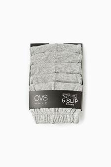 Five-pack solid colour cotton briefs, Grey Marl, hi-res