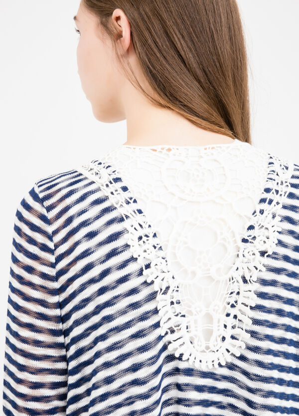 Stretch cardigan with stripes and lace | OVS