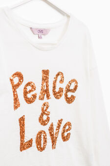 Sequinned T-shirt in 100% cotton, White, hi-res
