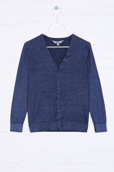Cardigan scollo a V lavorato tricot, Blu, hi-res