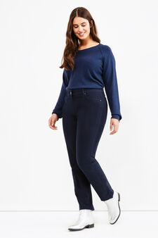 Curvy stretch cotton twill trousers, Navy Blue, hi-res