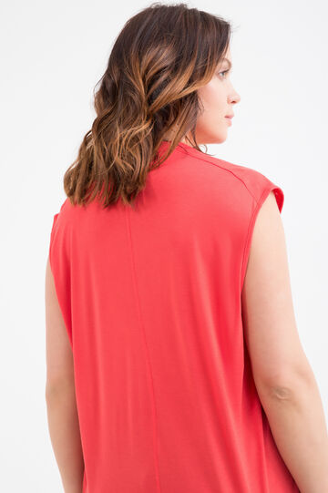 Curvy solid colour cotton T-shirt., Red, hi-res