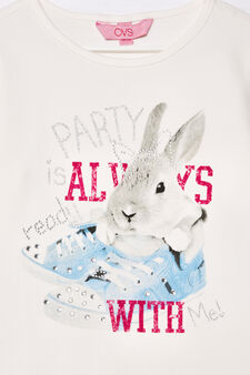 T-shirt stretch stampata con strass, Bianco latte, hi-res